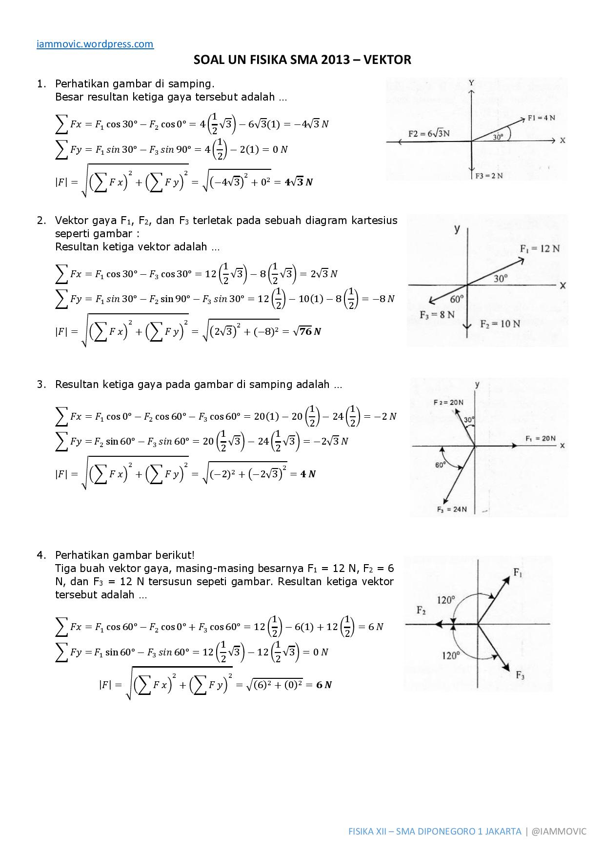 Pembahasan Soal Un Fisika Sma 2013 Vektor Iammovic