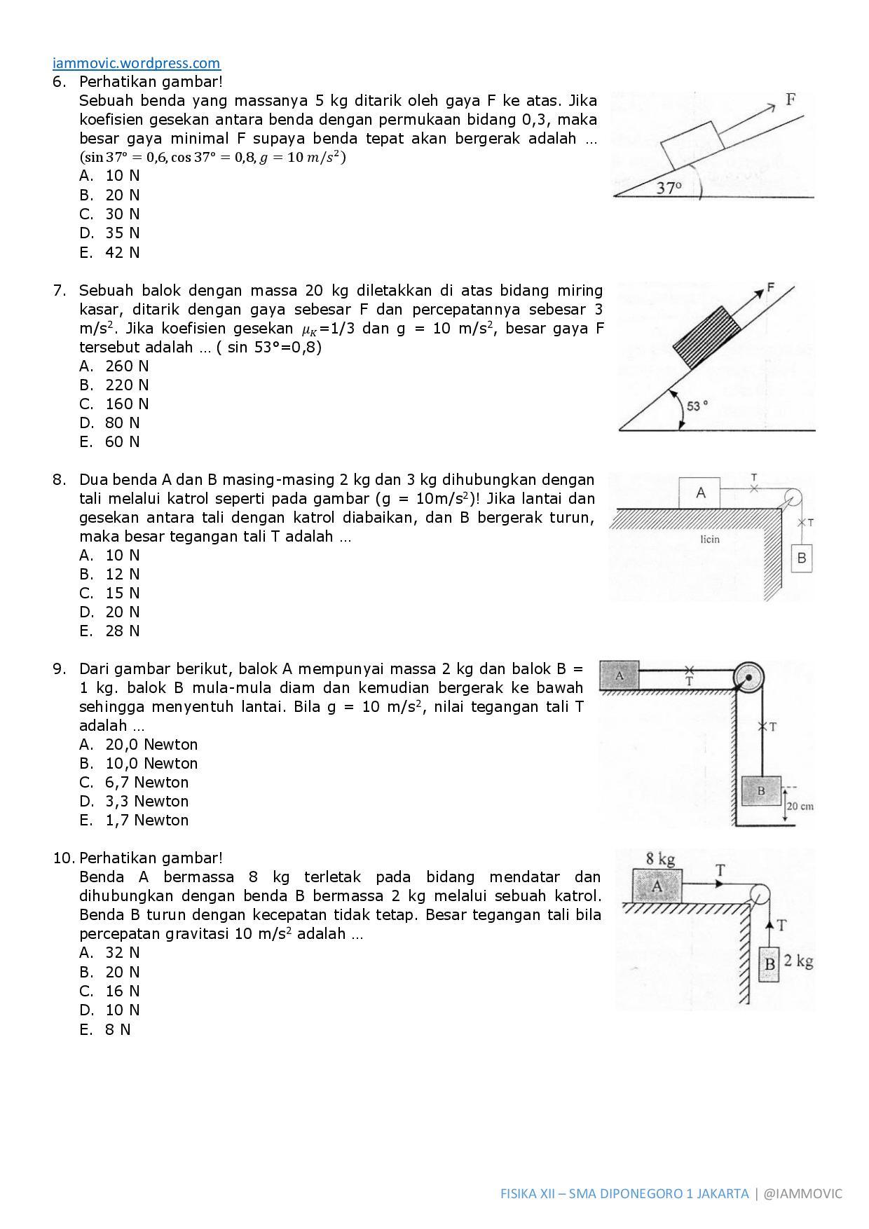 Soal Ujian Nasional Fisika Sma 2013 Dinamika Translasi Iammovic