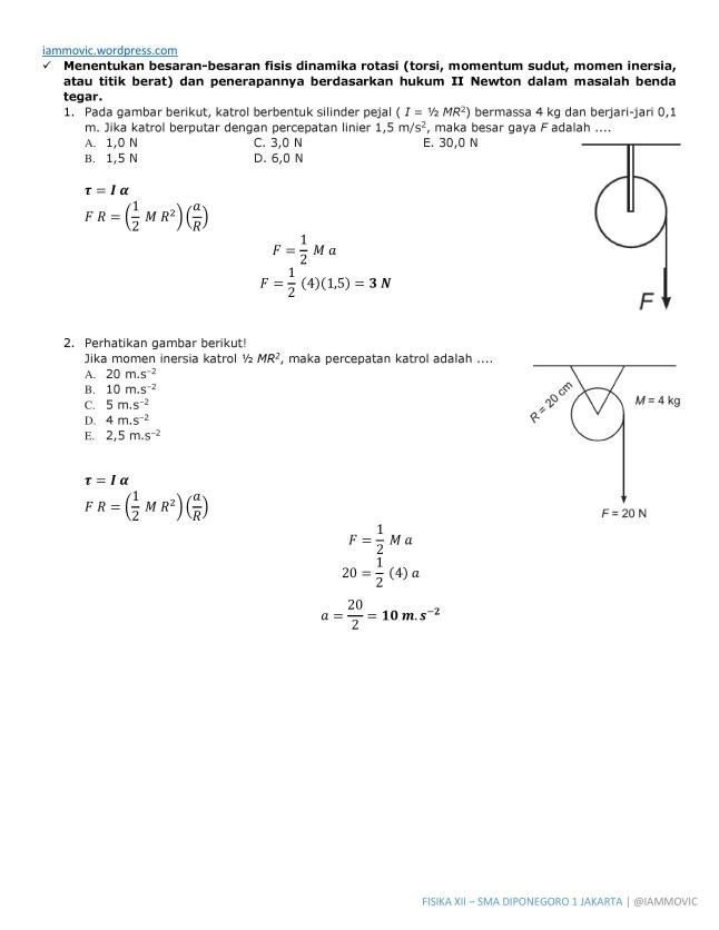 Pembahasan Soal Fisika Dinamika Rotasi Iammovic