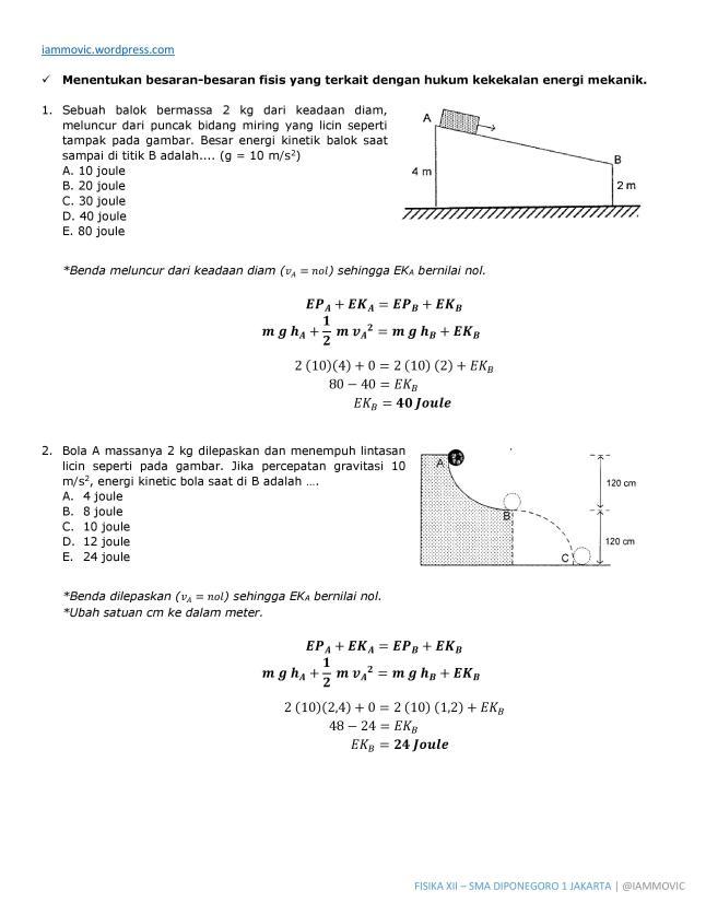 Pembahasan Soal Fisika Hukum Kekekalan Energi Iammovic