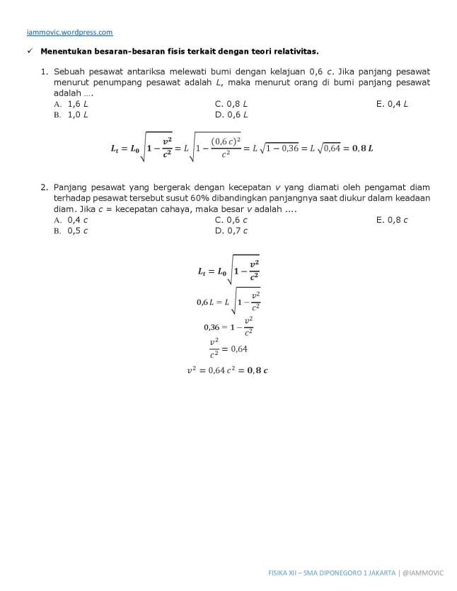 Pembahasan Soal Fisika Teori Relativitas Khusus Kontraksi Panjang Iammovic