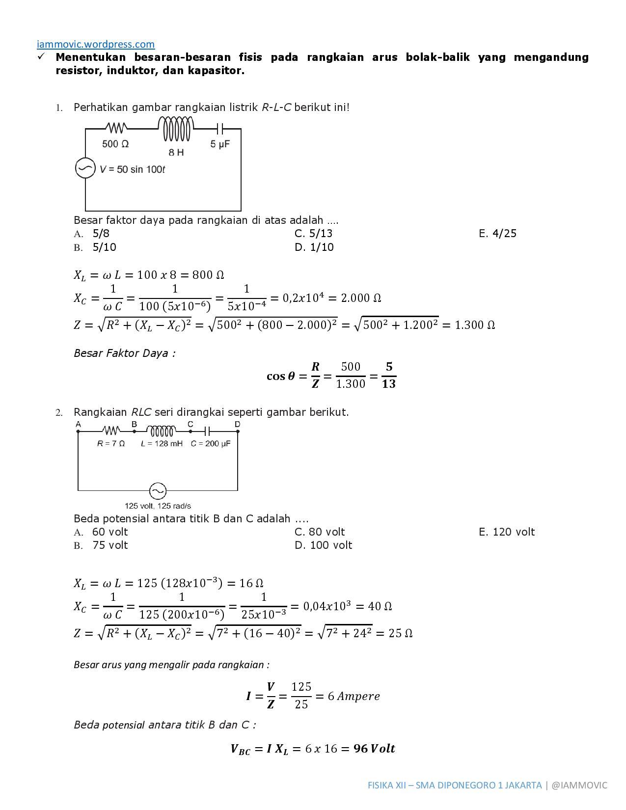Pembahasan Soal Fisika Rangkaian R L C Iammovic