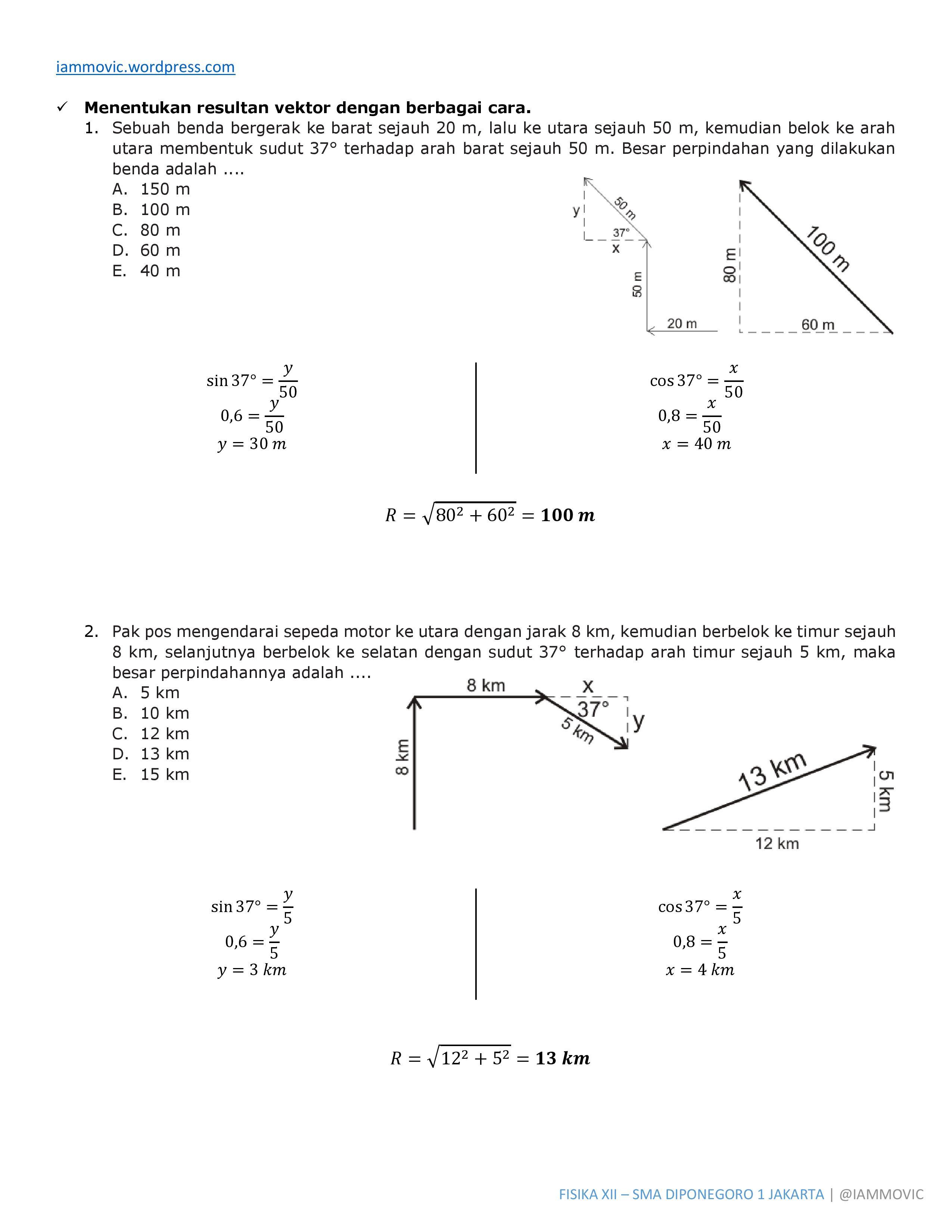 Pembahasan Soal Fisika Vektor Iammovic